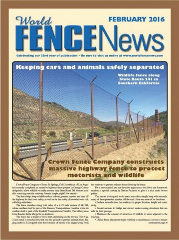 SR241 Wildlife Protection Fence Project featured in World Fence News